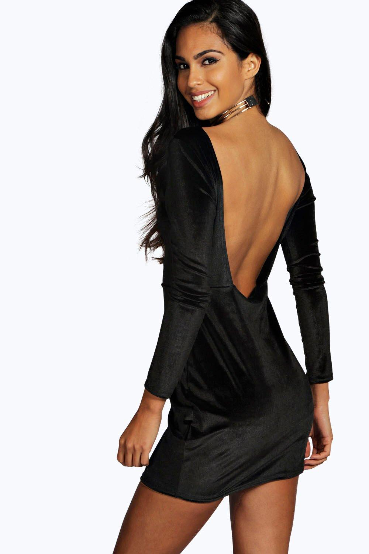 online retailer d097e 2fb87 Hanna abito aderente di velluto con schiena scoperta | Boohoo
