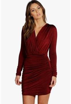 Womens Berry Slinky Wrap Long Sleeve Bodycon Dress