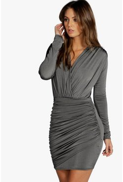 Womens Grey Slinky Wrap Long Sleeve Bodycon Dress