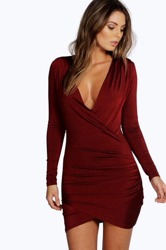 Womens Berry Slinky Drape Front Sleeve Bodycon Dress
