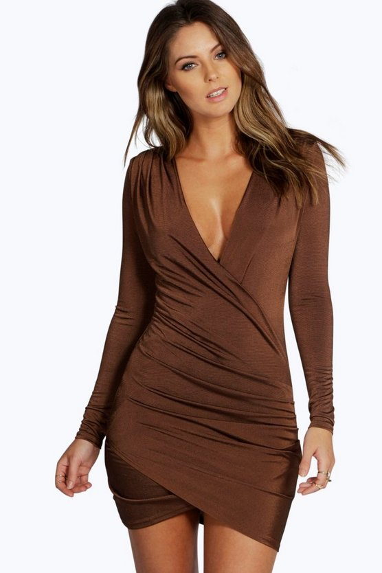 Womens Chocolate Slinky Drape Front Sleeve Bodycon Dress