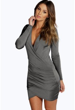 Womens Grey Slinky Drape Front Sleeve Bodycon Dress