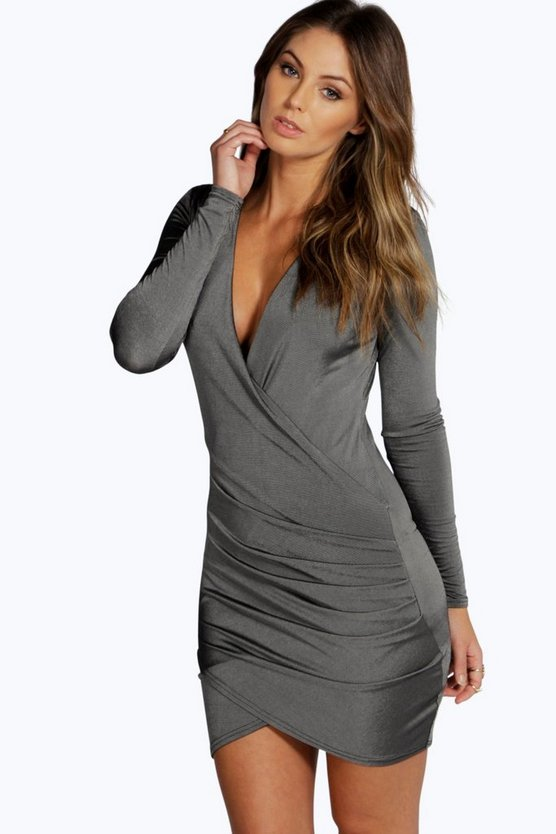 Slinky Drape Front Sleeve Bodycon Dress