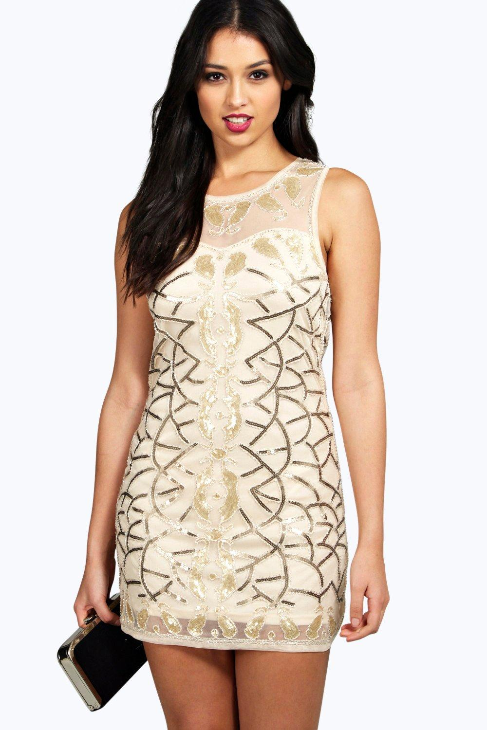 394cb51d96884 Boutique Fay Sequin Panel Detail Bodycon Dress | Boohoo