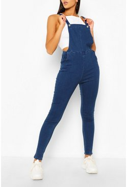 Blue Slim Fit Denim Overalls