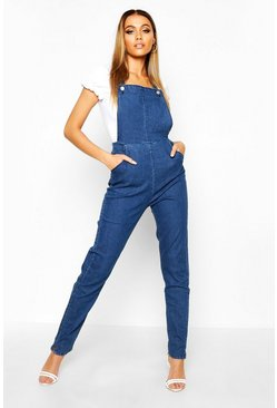 Womens Mid blue Slim Fit Denim Overalls
