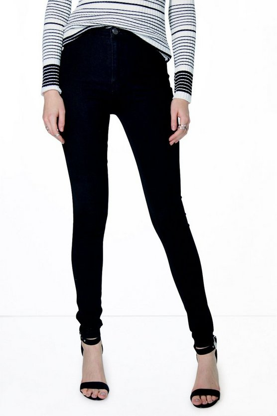 Lara High Rise Black Skinny Tube Jeans