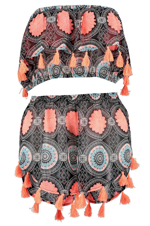 cortos pantalones top y Conjunto flecos estilo estampado de Multicolor bardot con gSwpqE5xq4