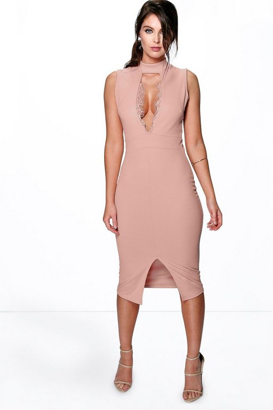 Womens Kelly Eyelash Trim Cut Out Midi Dress