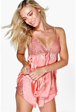 Coral Satin and Lace Trim PJ Short Set