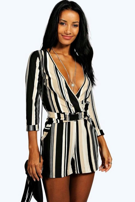 Multi Striped Relaxed Self Belt Playsuit
