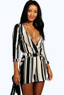 Multi Striped Relaxed Self Belt Romper