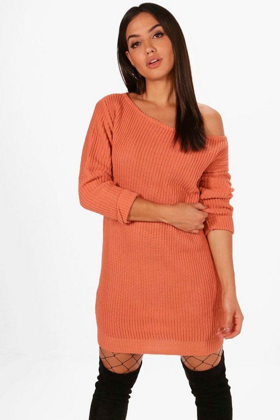 Apricot Slash Neck Fisherman Jumper Dress