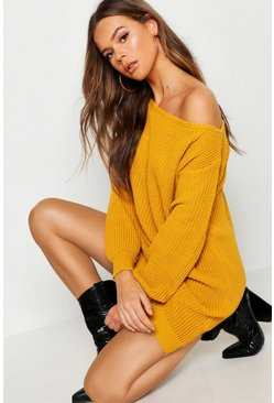 Womens Mustard Slash Neck Fisherman Jumper Dress