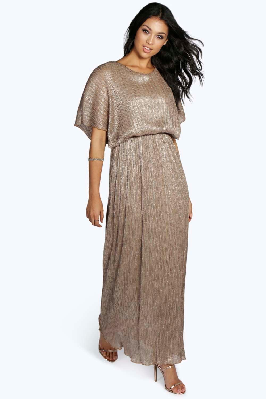 Millie Metallic Pleat Maxi Dress | Boohoo