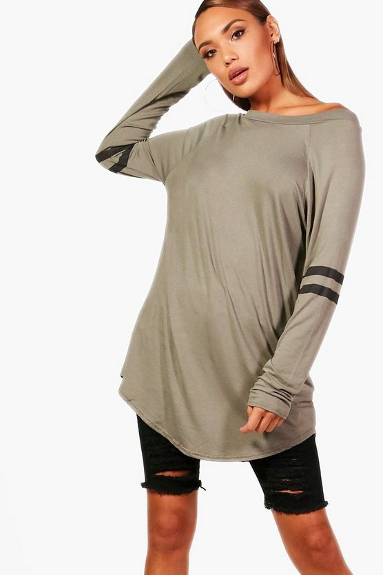 Womens Khaki Long Sleeve Base Ball Tunic
