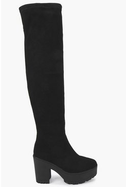 Womens Black Cleated Over The Knee Boots
