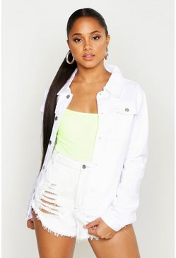 Womens White Oversize Denim Boyfriend Jacket