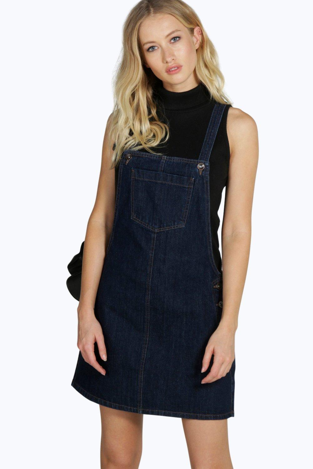 909aa8cfa5 Holly Clean Cut Denim Pinafore Dress. Hover to zoom