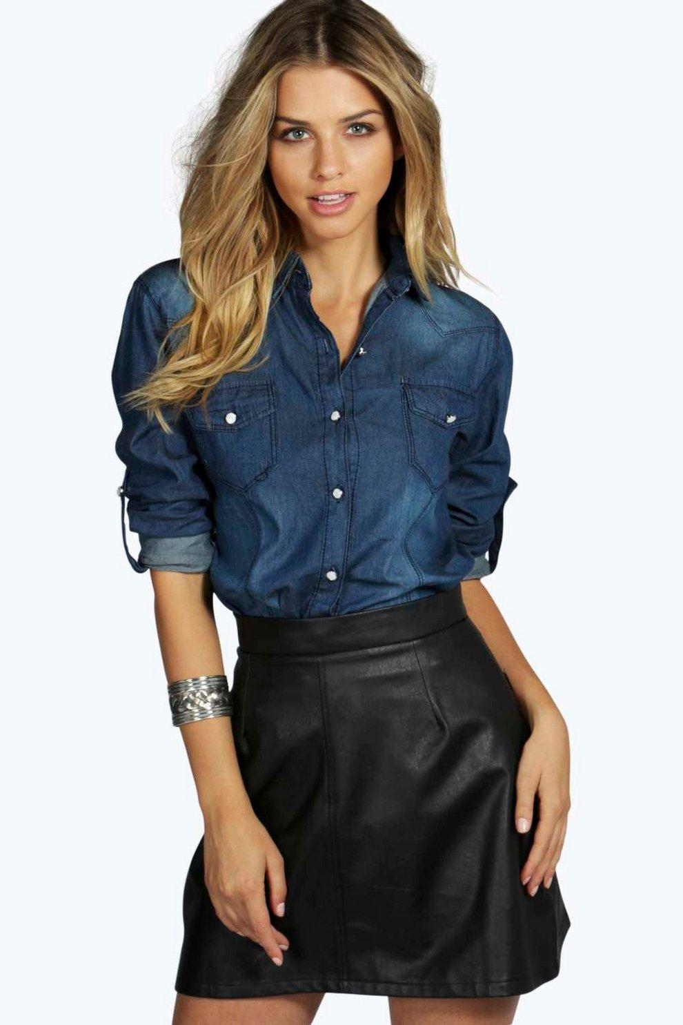 b3ff239b89634 Lisa Slim Fit Dark Wash Denim Shirt | Boohoo