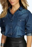 0802cda321d ... Lisa Slim Fit Dark Wash Denim Shirt alternative image