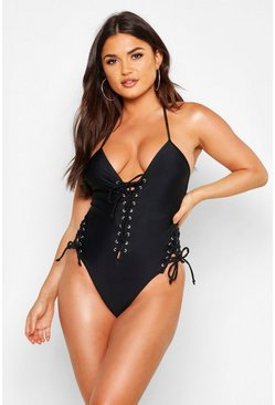 Black Boutique Lace Up Front Tie Side Swimsuit