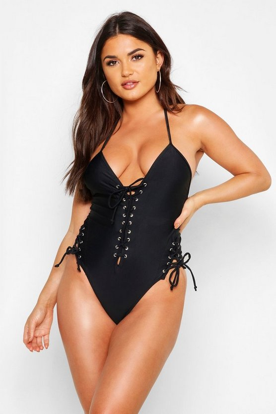 Womens Black Boutique Lace Up Front Tie Side Swimsuit