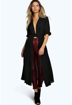 Womens Black Plunge Neck Split Maxi Shirt
