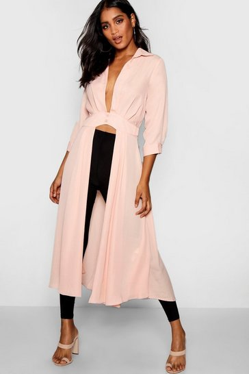 Womens Blush Plunge Neck Split Maxi Shirt