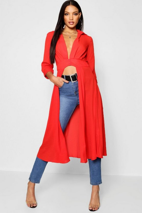 Womens Brick Plunge Neck Split Maxi Shirt