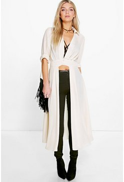 Womens Cream Plunge Neck Split Maxi Shirt