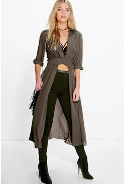 Womens Khaki Plunge Neck Split Maxi Shirt