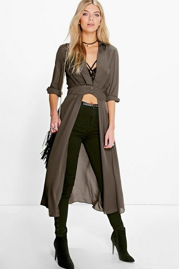 Khaki Plunge Neck Split Maxi Shirt