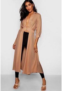 Womens Stone Plunge Neck Split Maxi Shirt