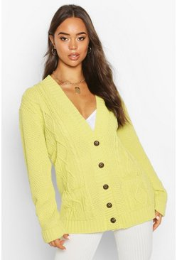 Washed lime Cardigan i boyfriend-modell
