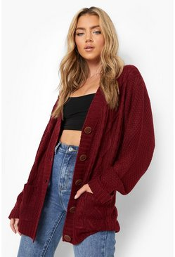 Womens Wine Boyfriend Cardigan
