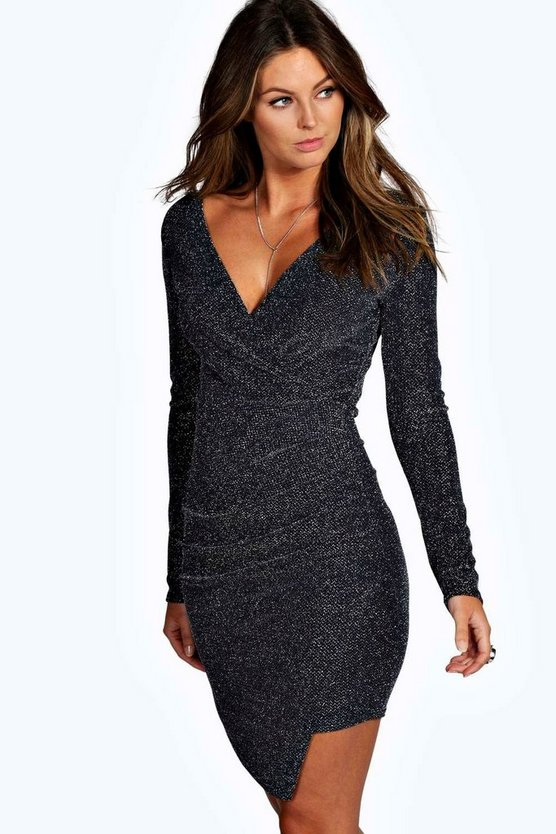 Lilith Wrap Front Ruched Metallic Bodycon Dress