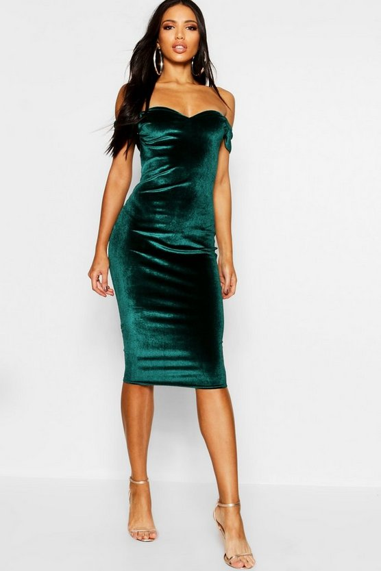 Womens Green Velvet Off The Shoulder Midi Dress