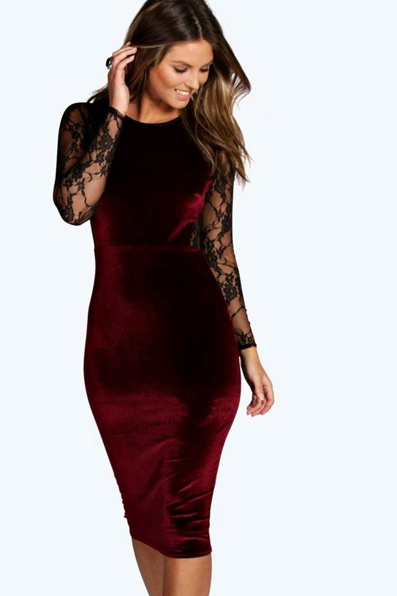 Shea Velvet & Lace Long Sleeve Bodycon Dress