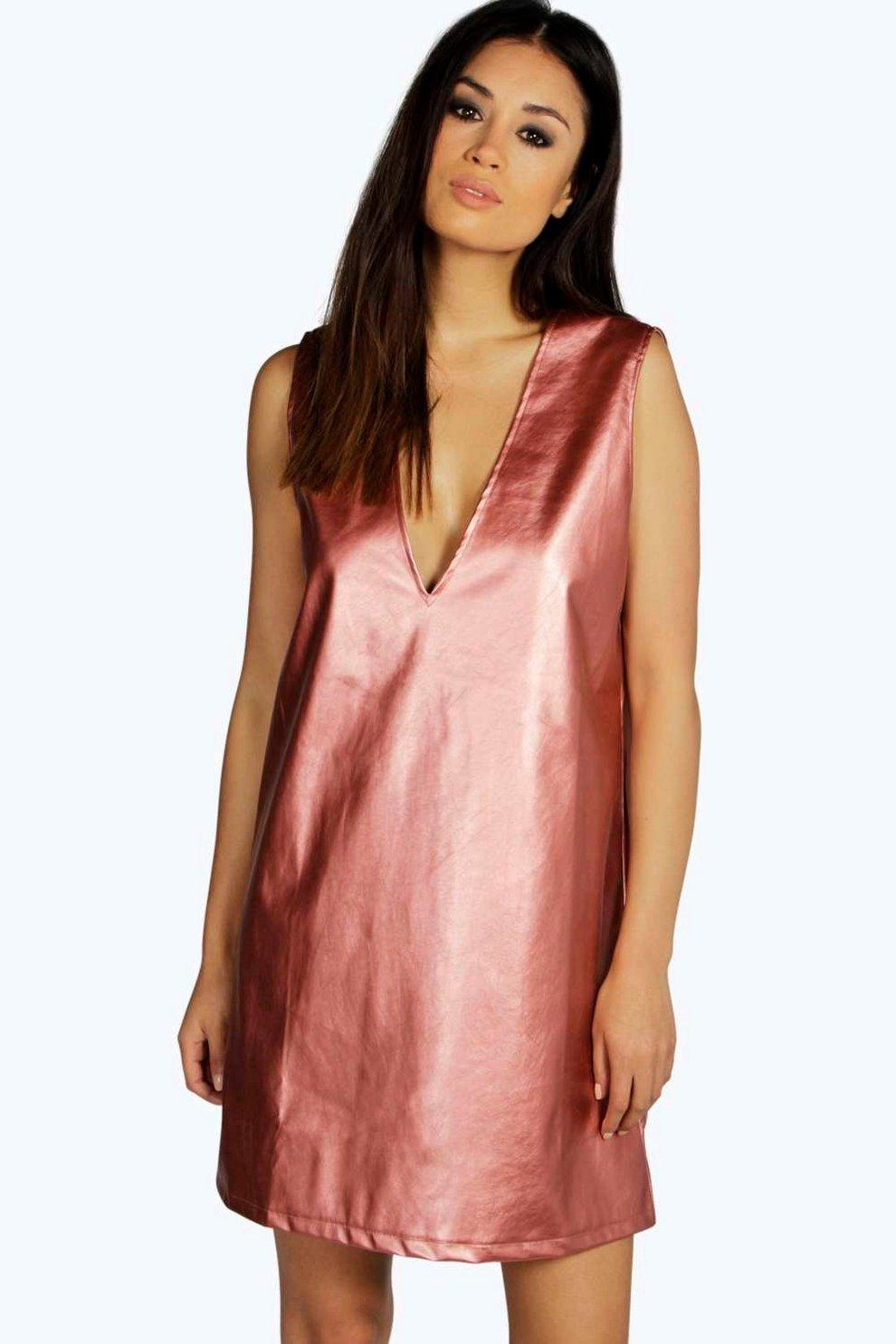 Pamela PU Plunge Neck Shift Dress  d56f32fad