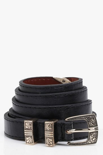 Womens Black Western Buckle Skinny Belt