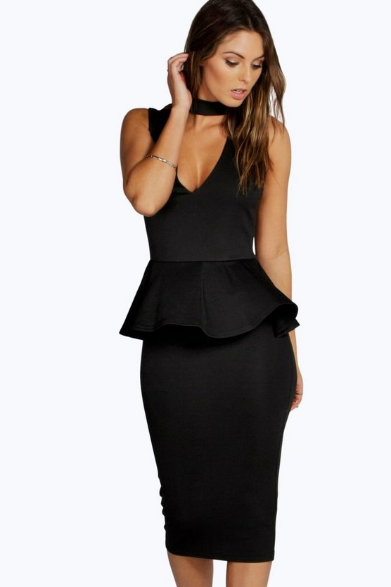 Brenda High Neck Cut Out Peplum Dress