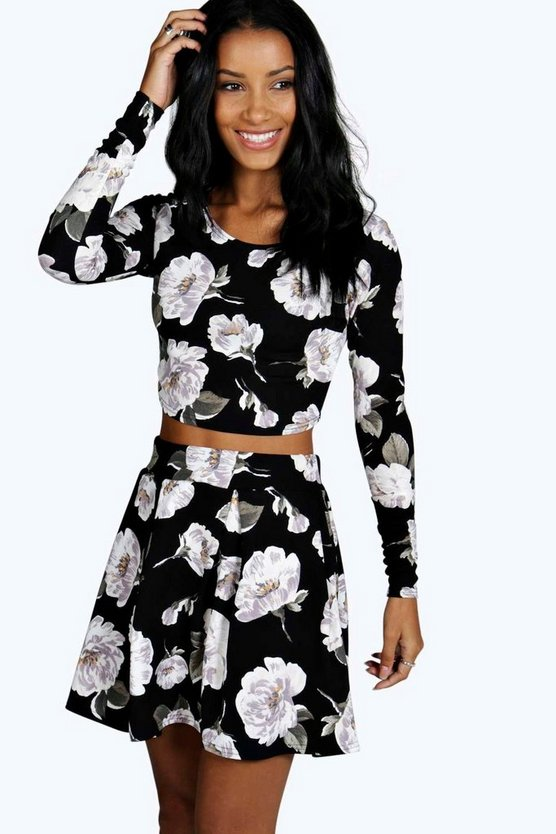 Womens Black Rose Floral Top And Skater Co-Ord Set