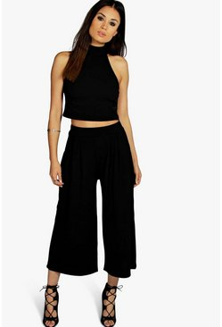 Womens Black Rose High Neck Crop & Culotte Co-Ord Set