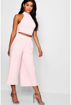 Womens Blush Rose High Neck Crop & Culotte Co-Ord Set
