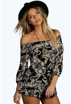 Multi Paisley Off The Shoulder Playsuits