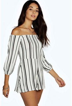 Multi Stripe Off The Shoulder Playsuit