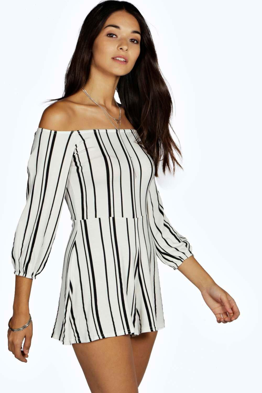 b8d075de9ec1 Stripe Off The Shoulder Playsuit. Hover to zoom