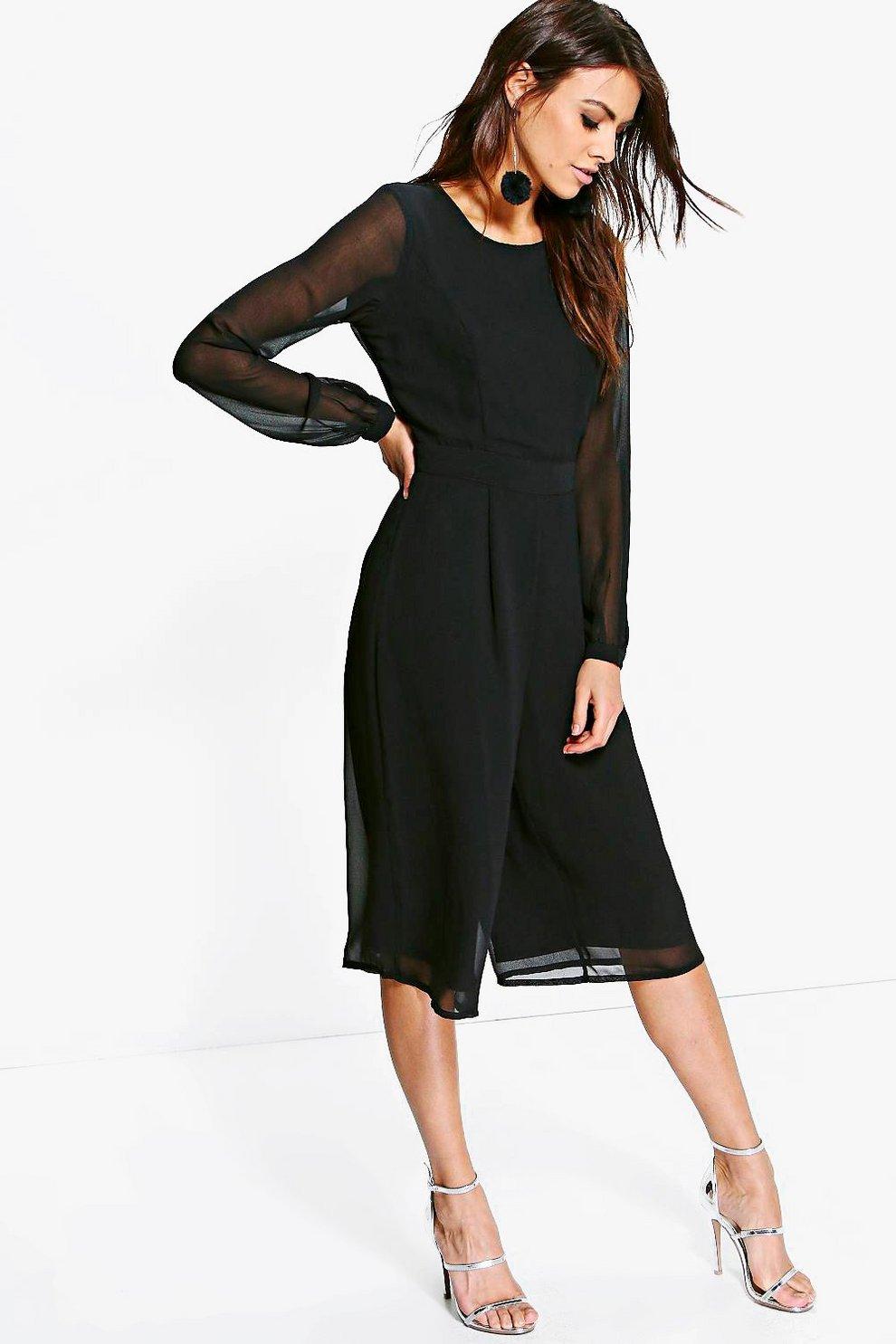 5ec6b918e864 Cora Long Sleeve Culotte Jumpsuit