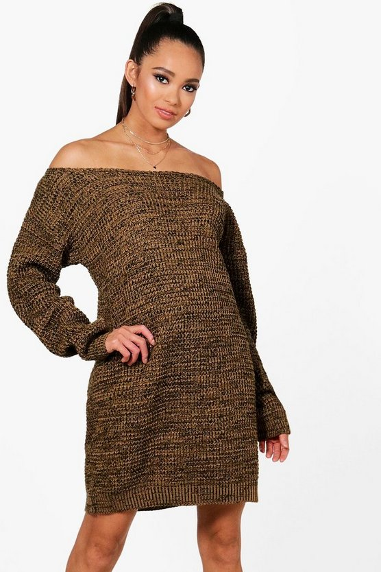 Womens Camel Slash Neck Marl Knit Jumper Dress